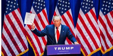 Trump holds up document Trump holds up paper