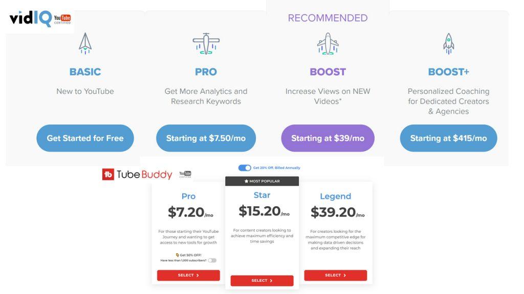 YouTube vs VidIQ SEO Pricing